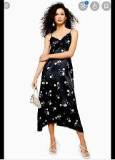 Topshop Slip Cami Lace Black Daisy Dress 8 New Gorgeous!