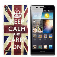 Schutzhülle f Huawei Ascend P6 Case Cover Tasche Silikon TPU keep calm carry on