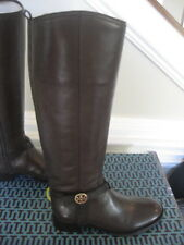 NIB Tory Burch Bristol Brown Coconut Gold Leather Riding Boots Tall Size 9
