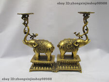 Tibet Brass Copper Dragon Elephants Buddhism Candle Holders candlestick Pair