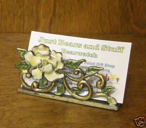 """Pewter Business Card Holder #H193 FLOWER, NEW/Box,  3.5"""" x 1.75"""", by  Welforth"""