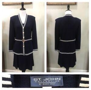 ST JOHN COLLECTION 2/P/4 Navy Blue & White Striped 3 Piece Knit Skirt Suit EUC