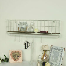 Cream wire metal wall shelf & hanging hooks kitchen bathroom storage home decor