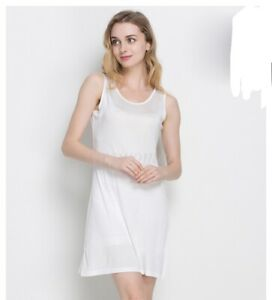 Women Knit Silk Slip Dress Lingerie Nightgown Pajama Chemise Petticoat Sleepwear