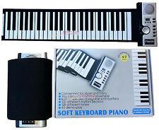 Portable Flexible Roll Up Electronic Piano 49 Keys Soft Keyboard MIDI AC Adapter