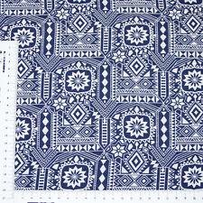 Blau Weiß Gemustert mit Bordüre Kleiderstoff Blusenstoff Viskose Swafing