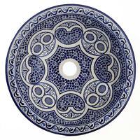 Marokkanisches Lavandino Handgetöpfert Di Ceramica Handwaschbeck D39cm Fes-x-I