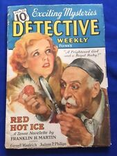 """DETECTIVE WEEKLY. JANUARY 23, 1937 - CORNELL WOOLRICH'S """"THE CORPSE NEXT DOOR"""""""