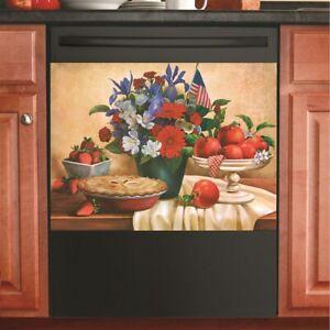 Patriotic Bouquet Of Flowers w/ Apple Pie Kitchen Dishwasher Cover Magnet