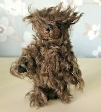 """More details for world of miniture bears 4"""" mohair by theresa yang  chocolate chip"""