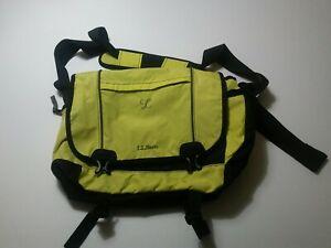 LL Bean Messenger Bag Pocketbook Travel Lime Black