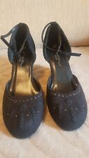 New Look Black Suede ankle strap wedge heel shoes size 5