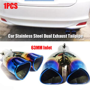 1× Stainless Steel 63mm Car Rear Clamp-on Dual Exhaust Straight Tail Muffler Tip