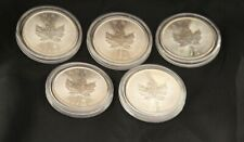 5 Canada $5 Maple Leaf 2014 1oz Silver Coins - Unc in capsules