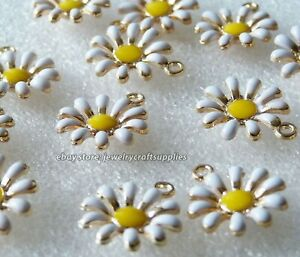 3x Daisy Enamel Flower Charms for Bracelet Necklace Pendant Gold tone C167