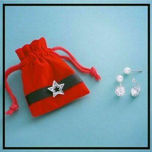 PEARL 2 IN 1 EARRINGS WITH RED VELOUR STAR POUCH ~ *BRAND NEW IN SEALED BAG*