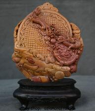 "9""Old China Natürliche Shoushan Stein Buddhismus Grüne Tara Göttin Buddha Statue"