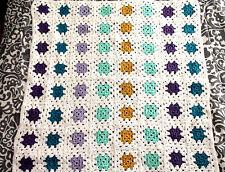 "Crochet Afghan Blanket 64 Square Multi Color On White 42""x42"""