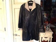 BORGO ANTICO Black/Tan Leather Long Sleeve Coat Made In Italy Sz44