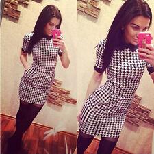US Elegant Women Dress Slim Short Sleeved Plaid Print Bodycon Casual Dresses M