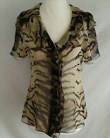 Elie Tahari Womens S Blouse Silk Button Front Sheer Animal Print Flutter Sleeve