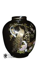 """Elegant Japanese Porcelain Moriage Vase W/ Peacocks & Cherry Blossom Tree 7"""""""