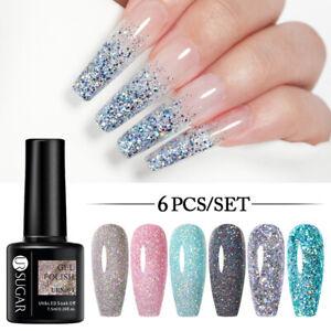 UR SUGAR 6Pcs Gel Nail Polish Reflective Glitter Soak Off Thermal Luminous Gel