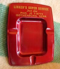 "TRUE Vtg 50s Stamped GOTHENBURG NEBRASKA LINKER""S TRUCK STOP ADVERTISING ASHTRAY"