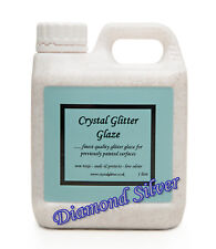 Crystal Glitter Glaze paint, wallpaper - Diamond Silver + holographic crystals!