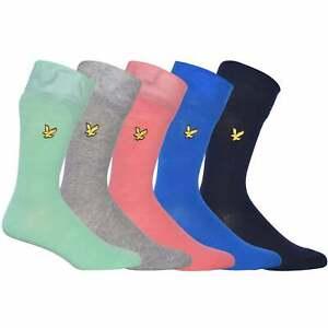 Lyle & Scott Men's 5-Pack Golden Eagle Socks, Green/Pink/Navy/Blue/Grey One Size