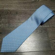 HERMES Paris Neck tie 100% Silk 5481 FA H Logo link patter All over print blue