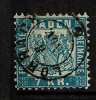 Baden SC# 28, Used, Hinge Remnant, minor crease (Noted as Mi# 25a) - S4194