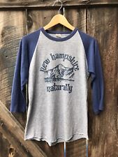 Vtg 80s NEW HAMPSHIRE Naturally Tri-Blend Rayon Raglan Gray Baseball Shirt S USA