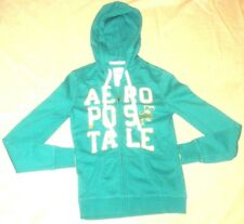 Aeropostale Hoodie Embroidered Teal Green Blue White Gold Sweater Women Size S/P