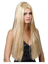 "Ladies Long Straight 24"" Blonde Wig Fancy Dress Halloween Hippy Hippie 60s 70s"