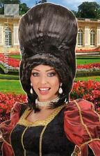 Ladies Brown Baroness Wig Tall Behive Dutchess Fancy Dress - Deluxe Edition