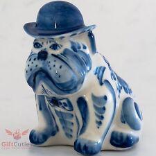 Porcelain English Bulldog  Dog in Bowler Hat Figurine Gzhel colors handmade