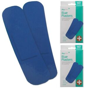 120x DETECTABLE BLUE PLASTERS Waterproof Kitchen Catering Wound Injury Dressing