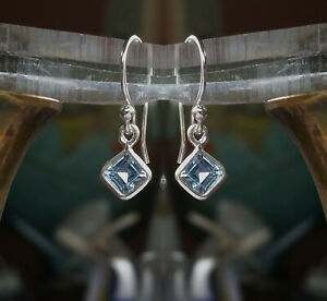 315g Blue Topaz Solid 925 Sterling Silver 6mm Facet Gemstone Earrings rrp$36