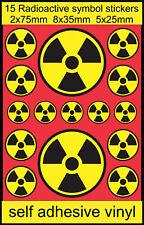 15 Radioactive symbol stickers Nuclear laptop motorbike fun bedroom door decal