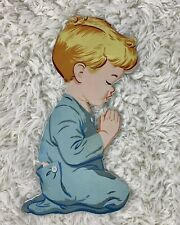 Vtg Dolly Toy Pin Up Now I Lay Me Down Praying Boy Baby Nursery Wall Decor