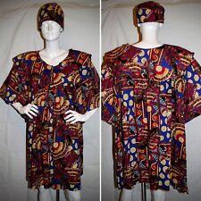 Vintage Dress with Beret Multi-Color Cleopatra Print Plus Size by F.A.D.