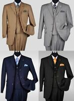 New Men's 3 piece Milano Moda Elegant and Classic Stripes Suit 4 Colors  5267v