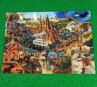 EuroDisneyland Unused Postcard PreOpening Artist Frontierland Attractions Unused