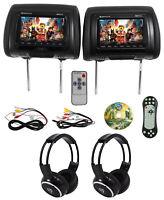 "Rockville RDP711-BK 7"" Car Headrest Monitors w/DVD/USB/HDMI + Games + Headphones"