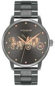Coach Women's Grand Gunmetal IP Plated Case & Bracelet 14502924 Gold Watch