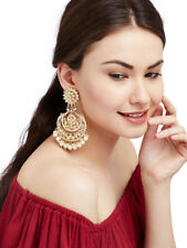 Indian Ethnic Gold Plated Kundan Pearl Long Earring Wedding Bollywood Jewelry