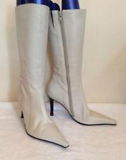 JANE SHILTON IVORY LEATHER CALF LENGTH BOOTS SIZE 3.5/36