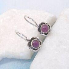 Rubin Blüte pink rund nostalgisch Ohrringe, Ohrhänger, 925 Sterling Silber neu