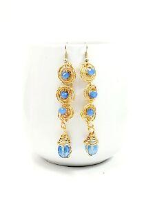 Long Gold Filled Dangle Earrings women Fashion Bohemian Boho Jewelry Crystal Ear